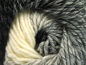 Fiber Content 75% Premium Acrylic, 25% Wool, White, Brand ICE, Grey, Black, Yarn Thickness 4 Medium  Worsted, Afghan, Aran, fnt2-61012