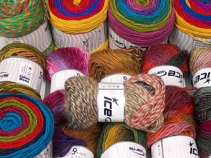 Fancy Yarns This mixed lot includes a total of 2000 gr (70.5 oz.) yarn. There is no standard for ball weight. Also disregard any information on the labels. You will get what you see in the photo. Brand ICE, fnt2-61041