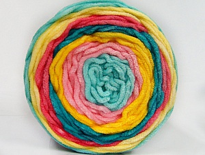 Fiber Content 100% Acrylic, Yellow, Turquoise, Salmon, Pink, Mint Green, Brand ICE, Yarn Thickness 4 Medium  Worsted, Afghan, Aran, fnt2-61172