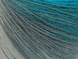 Fiber Content 60% Acrylic, 20% Wool, 20% Angora, Turquoise Shades, Brand ICE, Grey Shades, Yarn Thickness 2 Fine  Sport, Baby, fnt2-61203