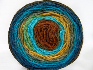 Fiber Content 70% Premium Acrylic, 30% Wool, Turquoise, Brand ICE, Gold, Copper, Blue Shades, Yarn Thickness 3 Light  DK, Light, Worsted, fnt2-61221