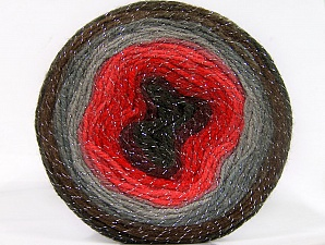 Fiber Content 95% Acrylic, 5% Metallic Lurex, Red Shades, Maroon, Brand ICE, Grey Shades, Brown, Yarn Thickness 3 Light  DK, Light, Worsted, fnt2-61257