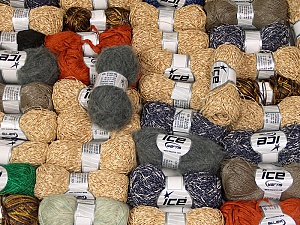 Fancy Yarns This mixed lot includes a total of 2000 gr (70.5 oz.) yarn. There is no standard for ball weight. Also disregard any information on the labels. You will get what you see in the photo. Brand ICE, fnt2-61507