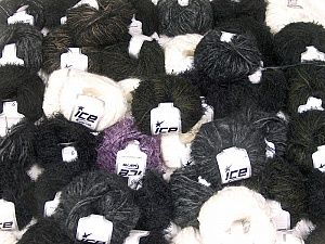 Eyelash Blends This mixed lot includes a total of 2000 gr (70.5 oz.) yarn. There is no standard for ball weight. Also disregard any information on the labels. You will get what you see in the photo. Brand ICE, fnt2-62012