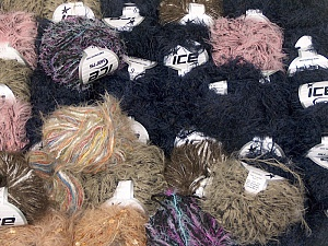 Eyelash Blends This mixed lot includes a total of 2000 gr (70.5 oz.) yarn. There is no standard for ball weight. Also disregard any information on the labels. You will get what you see in the photo. Brand ICE, fnt2-62159