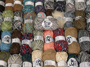 Fancy Yarns This mixed lot includes a total of 2000 gr (70.5 oz.) yarn. There is no standard for ball weight. Also disregard any information on the labels. You will get what you see in the photo. Brand ICE, fnt2-62329