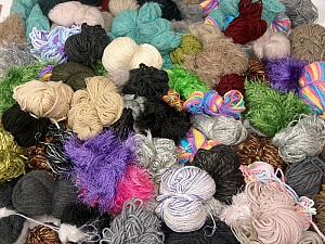 Leftover Yarns This mixed lot includes unlabeled leftover yarns. There is no standard for fiber content and ball weight. The total weight is 2000 gr (70.5 oz.). You will get what you see in the photo. Brand ICE, fnt2-62472