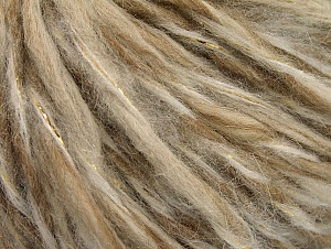Fiber Content 50% Wool, 5% Metallic Lurex, 45% Acrylic, Brand ICE, Gold, Cream Shades, fnt2-62602