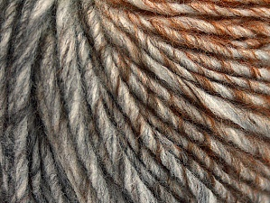 Fiberinnehåll 50% Ull, 50% Akryl, Brand ICE, Grey Shades, Gold, Copper, Yarn Thickness 4 Medium  Worsted, Afghan, Aran, fnt2-62785