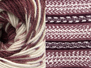 Fiber Content 70% Acrylic, 30% Wool, White, Maroon Shades, Brand ICE, Yarn Thickness 3 Light  DK, Light, Worsted, fnt2-63217
