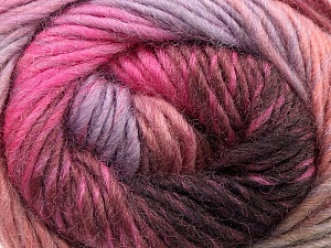 A self-striping yarn, which gets its design when knitted Fiber Content 100% Wool, Pink, Maroon, Lilac, Brand KUKA, Yarn Thickness 4 Medium  Worsted, Afghan, Aran, fnt2-16874