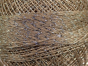 Fiber Content 70% Polyester, 30% Metallic Lurex, Brand YarnArt, Silver, Camel, Yarn Thickness 0 Lace  Fingering Crochet Thread, fnt2-17344