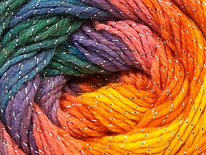 Fiber Content 95% Acrylic, 5% Lurex, Yellow, Purple, Orange, Brand ICE, Green, Blue, Yarn Thickness 3 Light  DK, Light, Worsted, fnt2-22056