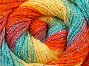 Fiber Content 95% Acrylic, 5% Lurex, Yellow, Orange, Light Blue, Brand Ice Yarns, Green, Yarn Thickness 3 Light  DK, Light, Worsted, fnt2-22057