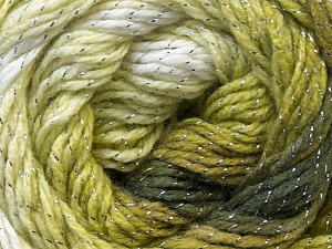 Fiber Content 95% Acrylic, 5% Lurex, Brand ICE, Green Shades, Yarn Thickness 3 Light  DK, Light, Worsted, fnt2-22390