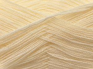 Very thin yarn. It is spinned as two threads. So you will knit as two threads. Yardage information is for only one strand. Fiber Content 100% Acrylic, Brand Ice Yarns, Cream, Yarn Thickness 1 SuperFine  Sock, Fingering, Baby, fnt2-22436