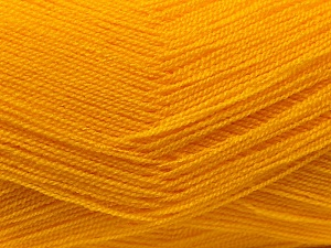 Very thin yarn. It is spinned as two threads. So you will knit as two threads. Yardage information is for only one strand. Fiber Content 100% Acrylic, Brand ICE, Dark Yellow, Yarn Thickness 1 SuperFine  Sock, Fingering, Baby, fnt2-22455