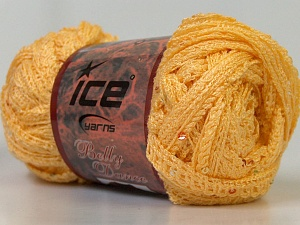A classic mesh-type scarf yarn with sequins on one side. Fiber Content 95% Acrylic, 5% Sequin, Light Yellow, Brand ICE, Yarn Thickness 6 SuperBulky  Bulky, Roving, fnt2-23276