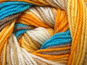 Fiber Content 100% Premium Acrylic, Yellow, White, Orange, Brand ICE, Brown, Blue, Yarn Thickness 3 Light  DK, Light, Worsted, fnt2-24561