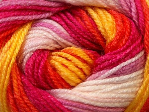 Fiber Content 100% Premium Acrylic, Yellow, White, Orange, Brand ICE, Fuchsia, Yarn Thickness 3 Light  DK, Light, Worsted, fnt2-24565