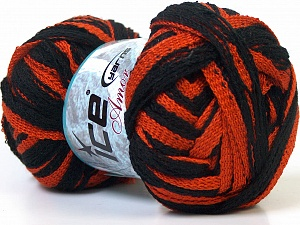 Fiber Content 100% Acrylic, Brand ICE, Copper, Black, Yarn Thickness 6 SuperBulky  Bulky, Roving, fnt2-25068