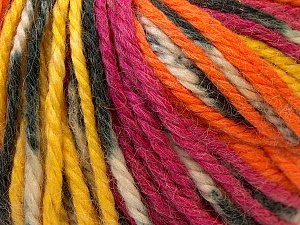 Fiber Content 40% Acrylic, 35% Wool, 25% Alpaca, Yellow, Orange, Brand ICE, Fuchsia, Yarn Thickness 5 Bulky  Chunky, Craft, Rug, fnt2-25424