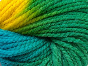 In this yarn a 100% Wool yarn is used. Dyeing process is totally hand made with natural plants and NO chemicals were used. For this reason, please be advised that some white parts may remain. Fiber Content 100% Wool, Yellow, Turquoise, Brand ICE, Green, Yarn Thickness 5 Bulky  Chunky, Craft, Rug, fnt2-30607