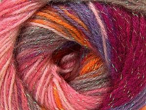Fiber Content 8% Lurex, 52% Acrylic, 40% Angora, Pink Shades, Orange, Lilac, Brand ICE, Yarn Thickness 2 Fine  Sport, Baby, fnt2-32865