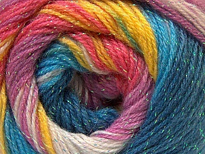 Fiber Content 8% Lurex, 52% Acrylic, 40% Angora, Turquoise Shades, Pink, Lilac, Brand ICE, Yarn Thickness 2 Fine  Sport, Baby, fnt2-32867