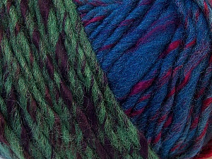 Fiber Content 60% Wool, 40% Acrylic, Turquoise, Red, Brand ICE, Green Shades, Fuchsia, Blue Shades, Yarn Thickness 4 Medium  Worsted, Afghan, Aran, fnt2-34612