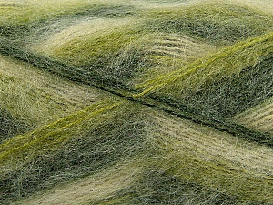 Fiber Content 70% Mohair, 30% Acrylic, Brand ICE, Green Shades, Cream, Yarn Thickness 3 Light  DK, Light, Worsted, fnt2-35067