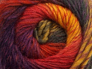 A self-striping yarn, which gets its design when knitted Fiber Content 100% Wool, Yellow, Red, Purple, Brand KUKA, Dark Grey, Yarn Thickness 4 Medium  Worsted, Afghan, Aran, fnt2-41089
