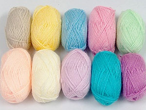 Please note that lengths are not equal for each lot. Fiber Content 100% Acrylic, Brand ICE, Baby Colors, Yarn Thickness 1 SuperFine  Sock, Fingering, Baby, fnt2-42182