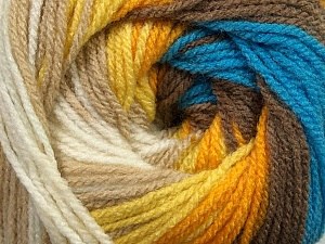 Fiber Content 100% Premium Acrylic, Yellow, White, Orange, Brand ICE, Camel, Brown, Blue, Yarn Thickness 3 Light  DK, Light, Worsted, fnt2-42196
