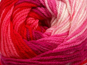 Fiber Content 100% Premium Acrylic, White, Red, Pink Shades, Brand ICE, Yarn Thickness 3 Light  DK, Light, Worsted, fnt2-42200