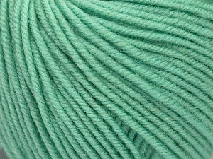 SUPERWASH MERINO is a worsted weight 100% superwash merino yarn available in 47 beautiful colors. Marvelous hand, perfect stitch definition, and a soft-but-sturdy finished fabric. Projects knit and crocheted in SUPERWASH MERINO are machine washable! Lay flat to dry. Fiber Content 100% Superwash Merino Wool, Mint Green, Brand ICE, Yarn Thickness 4 Medium  Worsted, Afghan, Aran, fnt2-42462