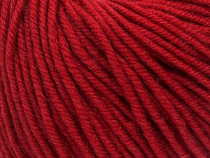 SUPERWASH MERINO is a worsted weight 100% superwash merino yarn available in 47 beautiful colors. Marvelous hand, perfect stitch definition, and a soft-but-sturdy finished fabric. Projects knit and crocheted in SUPERWASH MERINO are machine washable! Lay flat to dry. Fiber Content 100% Superwash Merino Wool, Brand ICE, Dark Red, Yarn Thickness 4 Medium  Worsted, Afghan, Aran, fnt2-42465