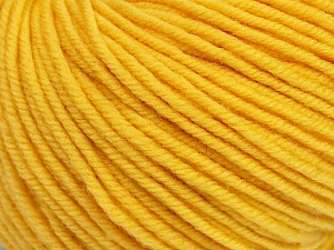 SUPERWASH MERINO is a worsted weight 100% superwash merino yarn available in 47 beautiful colors. Marvelous hand, perfect stitch definition, and a soft-but-sturdy finished fabric. Projects knit and crocheted in SUPERWASH MERINO are machine washable! Lay flat to dry. Fiber Content 100% Superwash Merino Wool, Yellow, Brand ICE, Yarn Thickness 4 Medium  Worsted, Afghan, Aran, fnt2-42470