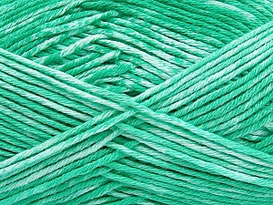 Strong pure cotton yarn in beautiful colours, reminiscent of bleached denim. Machine washable and dryable. Fiber Content 100% Cotton, White, Mint Green, Brand ICE, Yarn Thickness 3 Light  DK, Light, Worsted, fnt2-42564