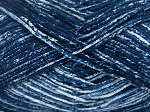 Strong pure cotton yarn in beautiful colours, reminiscent of bleached denim. Machine washable and dryable. Fiber Content 100% Cotton, White, Navy, Brand ICE, Yarn Thickness 3 Light  DK, Light, Worsted, fnt2-42572