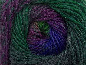 Fiber Content 70% Dralon, 30% Wool, Purple, Brand ICE, Green Shades, Blue, Yarn Thickness 4 Medium  Worsted, Afghan, Aran, fnt2-42764