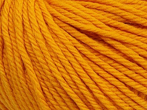 SUPERWASH WOOL BULKY is a bulky weight 100% superwash wool yarn. Perfect stitch definition, and a soft-but-sturdy finished fabric. Projects knit and crocheted in SUPERWASH WOOL BULKY are machine washable! Lay flat to dry. Fiber Content 100% Superwash Wool, Brand ICE, Dark Yellow, Yarn Thickness 5 Bulky  Chunky, Craft, Rug, fnt2-42829