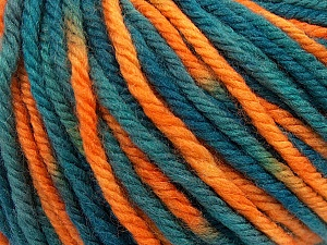 SUPERWASH WOOL BULKY is a bulky weight 100% superwash wool yarn. Perfect stitch definition, and a soft-but-sturdy finished fabric. Projects knit and crocheted in SUPERWASH WOOL BULKY are machine washable! Lay flat to dry. Fiber Content 100% Superwash Wool, Teal, Orange, Brand ICE, Yarn Thickness 5 Bulky  Chunky, Craft, Rug, fnt2-42858