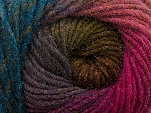 Fiber Content 100% Wool, Teal, Pink Shades, Maroon, Brand ICE, Green, Yarn Thickness 4 Medium  Worsted, Afghan, Aran, fnt2-43068