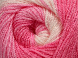 Fiber Content 100% Acrylic, White, Pink Shades, Brand ICE, Yarn Thickness 3 Light  DK, Light, Worsted, fnt2-44708