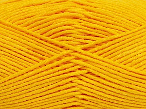 Fiber Content 55% Cotton, 45% Acrylic, Yellow, Brand ICE, Yarn Thickness 4 Medium  Worsted, Afghan, Aran, fnt2-45148