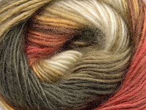 Fiber Content 40% Wool, 30% Acrylic, 30% Mohair, Salmon, Khaki, Brand ICE, Gold, Cream, Yarn Thickness 3 Light  DK, Light, Worsted, fnt2-45801