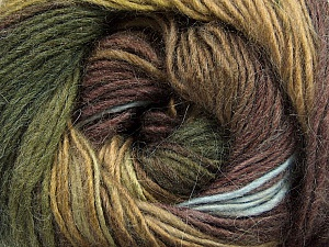 Fiber Content 40% Wool, 30% Acrylic, 30% Mohair, Brand ICE, Green Shades, Brown Shades, Yarn Thickness 3 Light  DK, Light, Worsted, fnt2-46393