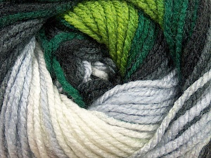 Fiber Content 100% Acrylic, White, Brand ICE, Grey, Green Shades, Black, Yarn Thickness 4 Medium  Worsted, Afghan, Aran, fnt2-46962