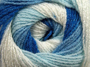Fiber Content 95% Acrylic, 5% Lurex, White, Brand ICE, Blue Shades, Yarn Thickness 3 Light  DK, Light, Worsted, fnt2-47993